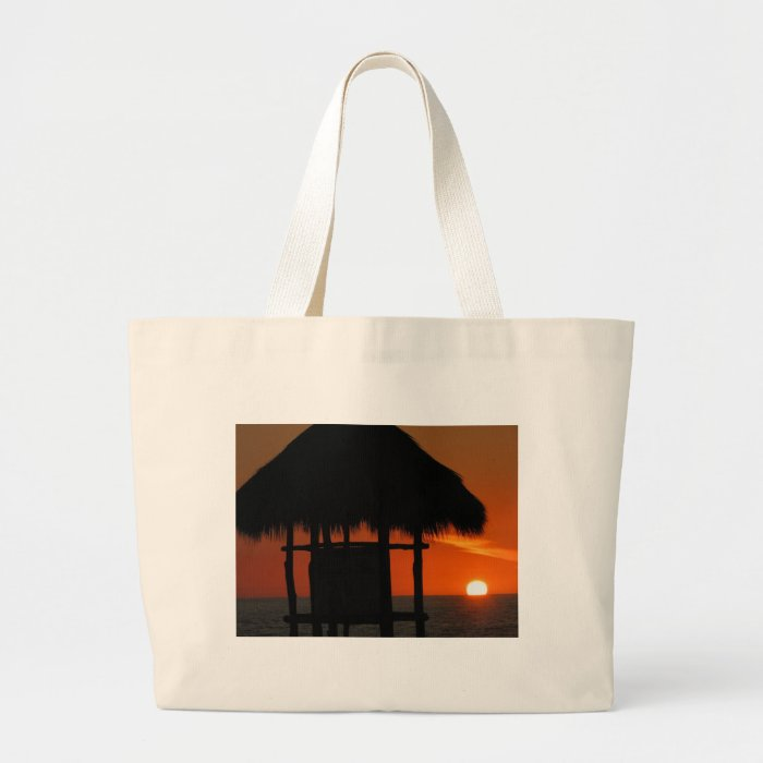 Palapa at Sunset Large Tote Bag