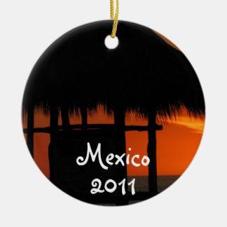 Palapa at Sunset; Mexico Souvenir Ceramic Ornament