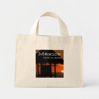 Palapa at Sunset; Mexico Souvenir Mini Tote Bag