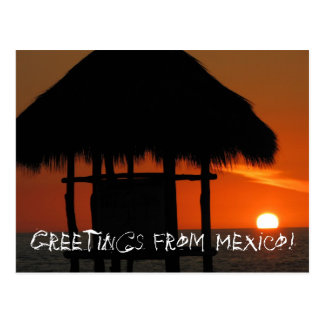 Palapa at Sunset; Mexico Souvenir Postcard