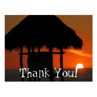 Palapa at Sunset; Thank You Postcard