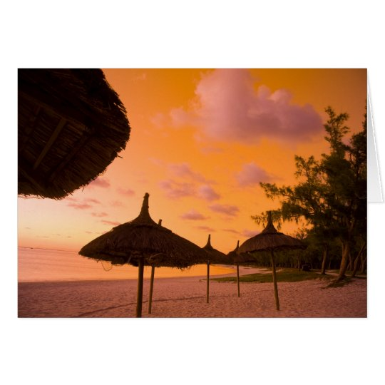 Palapa style beach huts at sunrise, Belle Mare 2 Card