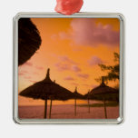 Palapa style beach huts at sunrise, Belle Mare 2 Christmas Ornaments