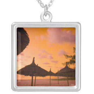 Palapa style beach huts at sunrise, Belle Mare 2 Silver Plated Necklace