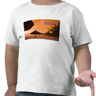 Palapa style beach huts at sunrise Belle Mare 2 T-shirts