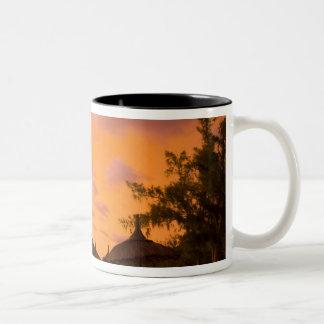 Palapa style beach huts at sunrise, Belle Mare 2 Two-Tone Coffee Mug