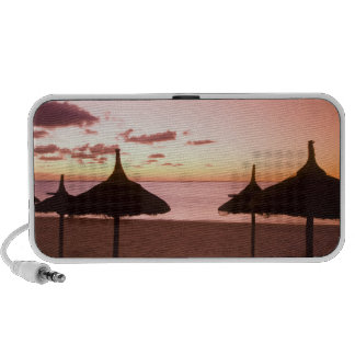 Palapa style beach huts at sunrise, Belle Mare iPod Speaker