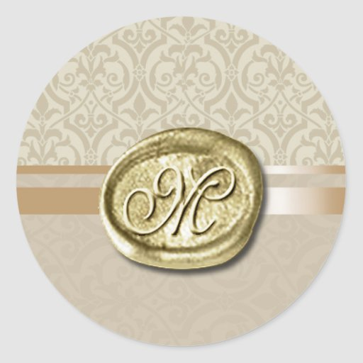 Palatial - Initial (Sand) Round Stickers