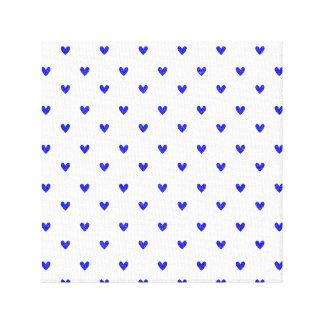 Palatinate Blue Glitter Hearts Pattern Stretched Canvas Prints