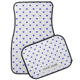Palatinate Blue Glitter Hearts Pattern Car Mat