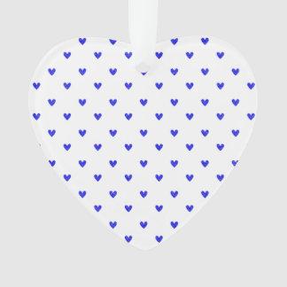 Palatinate Blue Glitter Hearts Pattern Ornament