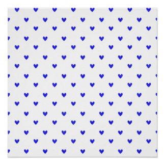 Palatinate Blue Glitter Hearts Pattern Poster