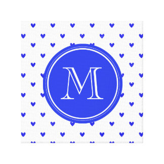 Palatinate Blue Glitter Hearts with Monogram Stretched Canvas Prints