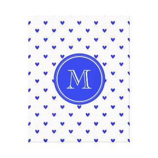 Palatinate Blue Glitter Hearts with Monogram Canvas Print