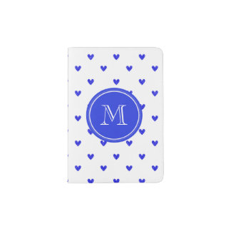 Palatinate Blue Glitter Hearts with Monogram Passport Holder