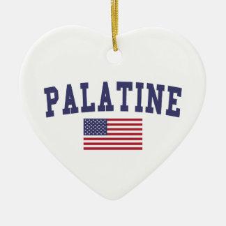 Palatine US Flag Ceramic Ornament