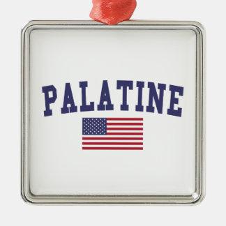 Palatine US Flag Metal Ornament