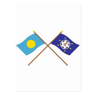 Palau and Airai Crossed Flags Postcard