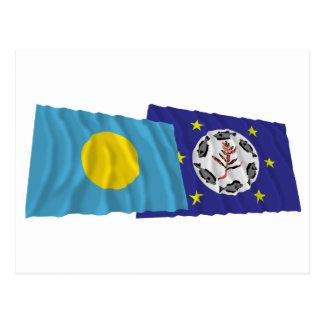 Palau and Airai Waving Flags Postcard