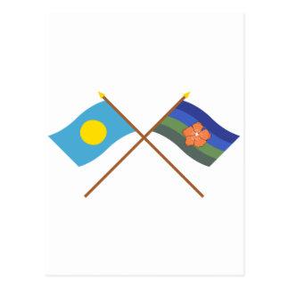 Palau and Angaur Crossed Flags Postcard