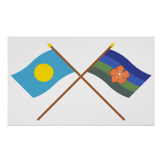 Palau and Angaur Crossed Flags Poster