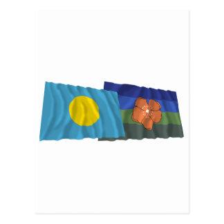 Palau and Angaur Waving Flags Postcard
