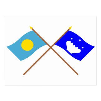 Palau and Hatohobei Crossed Flags Postcard