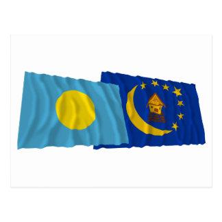Palau and Koror Waving Flags Postcard