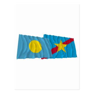 Palau and Ngaraard Waving Flags Postcard