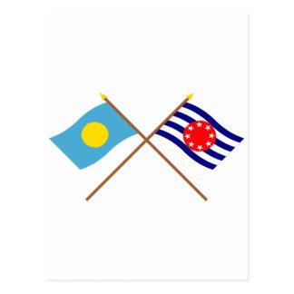 Palau and Ngarchelong Crossed Flags Postcard