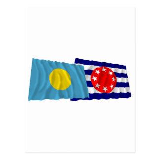 Palau and Ngarchelong Waving Flags Postcard