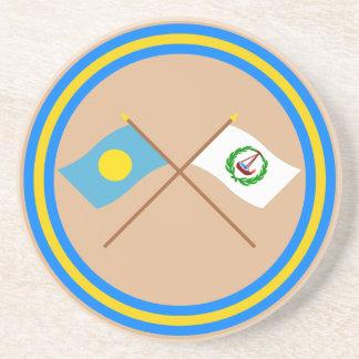 Palau and Ngatpang Crossed Flags Drink Coaster