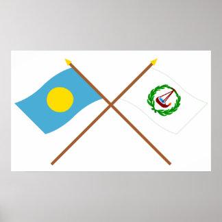 Palau and Ngatpang Crossed Flags Poster