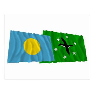 Palau and Ngchesar Waving Flags Postcard