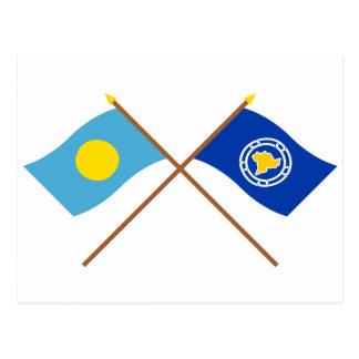 Palau and Ngeremlengui Crossed Flags Postcard