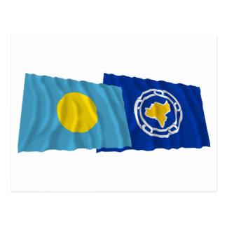 Palau and Ngeremlengui Waving Flags Postcard