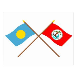 Palau and Ngiwal Crossed Flags Postcard