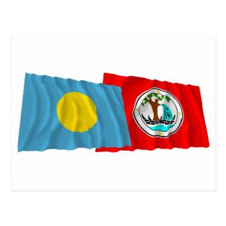 Palau and Ngiwal Waving Flags Postcard