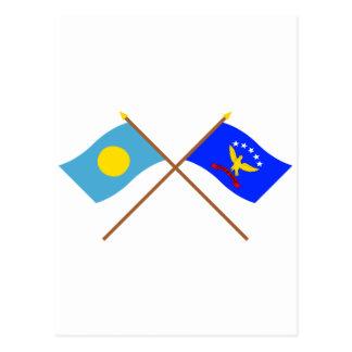 Palau and Peleliu Crossed Flags Postcard