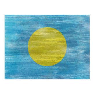 Palau distressed flag postcard