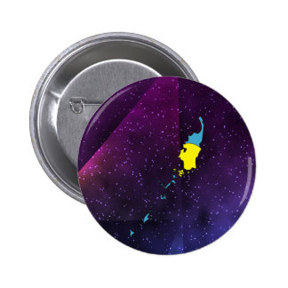 palau Flag Map on abstract space background 2 Inch Round Button