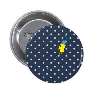 palau Flag Map on Polka Dots 2 Inch Round Button