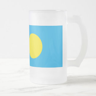 Palau Flag 16 Oz Frosted Glass Beer Mug