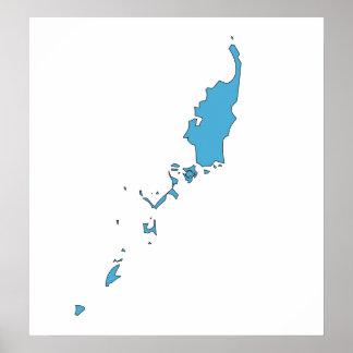 Palau señala el mapa por medio de una bandera del  poster