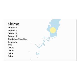 Palau señala el mapa por medio de una bandera tarjetas de visita