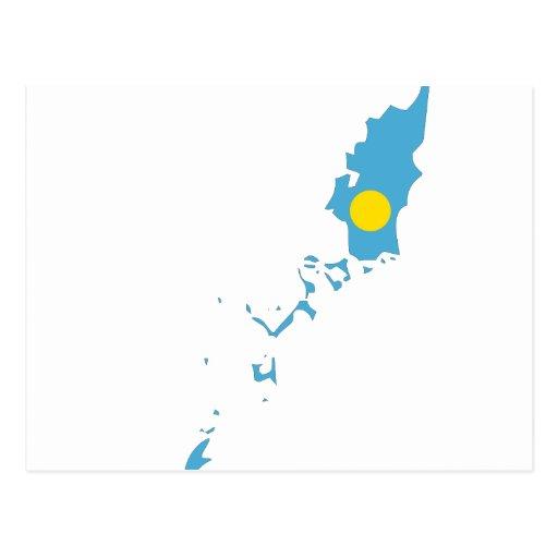 Palau señala el mapa por medio de una bandera tarjeta postal