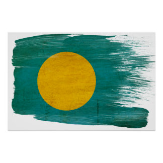 Palau señala los posters por medio de una bandera