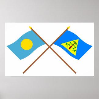 Palau y banderas cruzadas Kayangel Impresiones