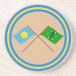 Palau y banderas cruzadas Ngchesar Posavasos Para Bebidas