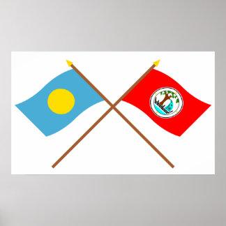 Palau y banderas cruzadas Ngiwal Poster
